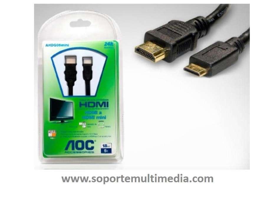 Cable Hdmi A Mini Hdmi Marca Aoc De 1.8 Metros 24k