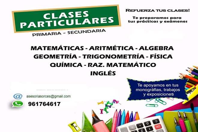 Clases Particulares de Matemática a domicilio Sta Anita Cercado SJL Rimac San Luis etc.