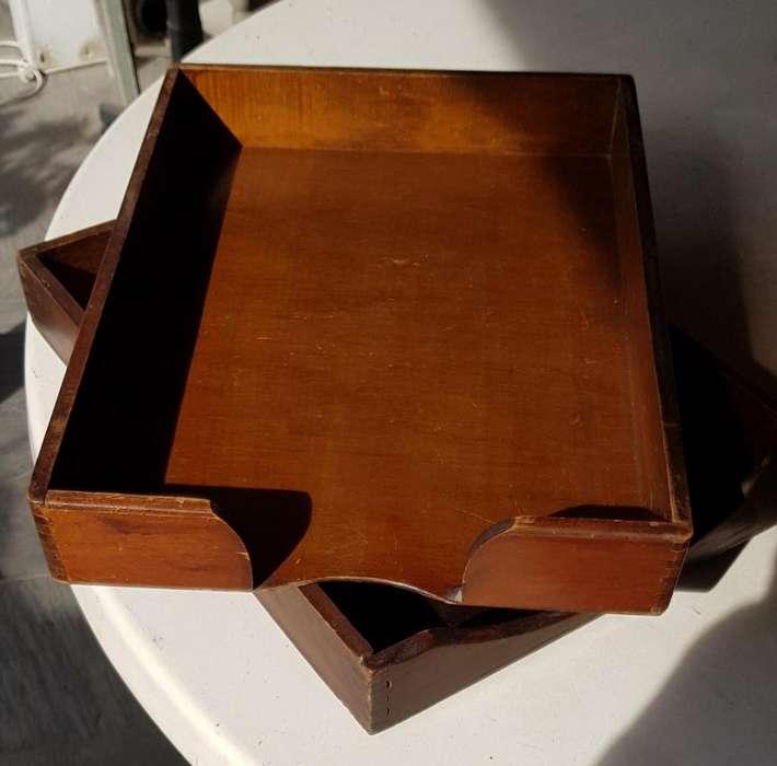 Bandejas madera Vintage Porta-papeles Organizador Oficina