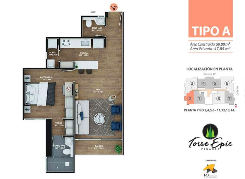 Apartaestudio en Torre Epic Pinares en el mejor barrio de Pereira