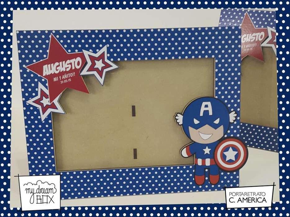 Portaretrato 10x15 cm Souvenir Evento Personalizado Heroes Capitán América Dibujo