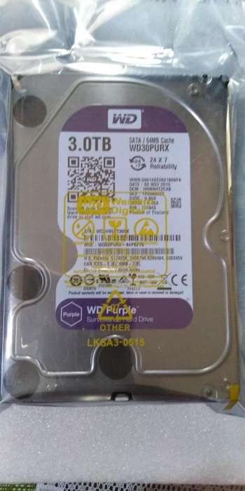 Disco Duro 3tb Wd Purpura Para Dvr Video Vigilancia
