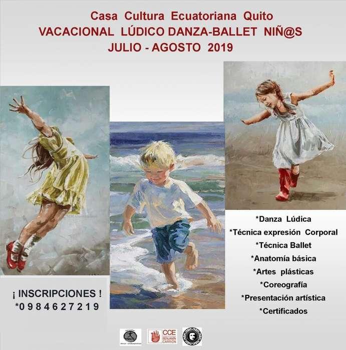 VACACIONAL LÚDICO DANZA-BALLET NIÑ@S. CASA DE LA CULTURA ECUATORIANA QUITO