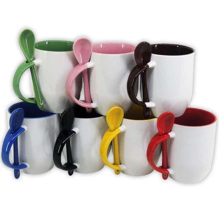 Taza de Color Personalizadas con Cuchara