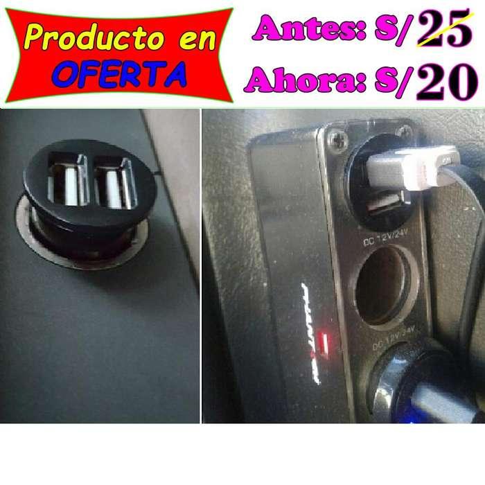 Cargador doble USB carga rápida para auto de calidad y bajo precio en Piura