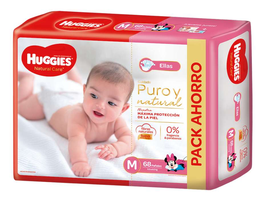 PAÑALES HUGGIES NATURAL CARE PACK AHORRO