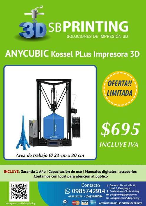 IMPRESORA 3D TIPO DELTA KOSSEL PLUS MARCA : ANYCUBIC