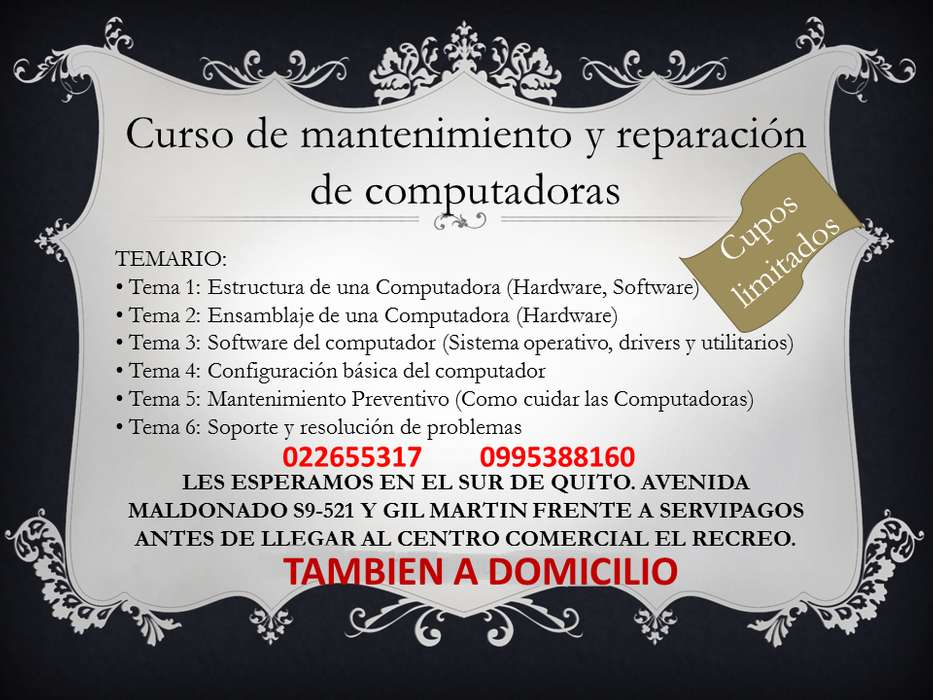 MANTENIMIENTO Y REPARACIÓN DE COMPUTADORAS 0995388160