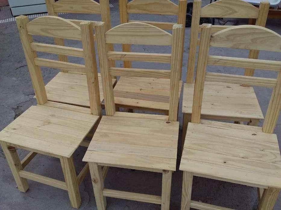 Seis <strong>sillas</strong> Nuevas Reforzadas Madera