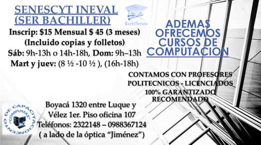 Cursos Ser Bachiller Senescyt INEVAL Guayaquil Profesores Politécnicos