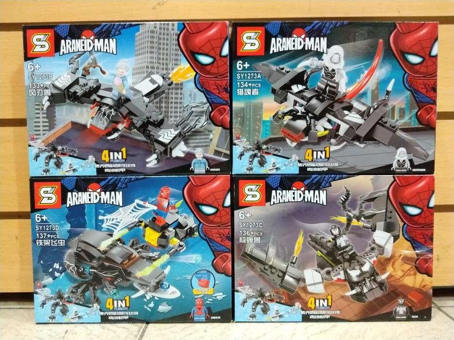 Simil Legos Hombre Araña Pack X4