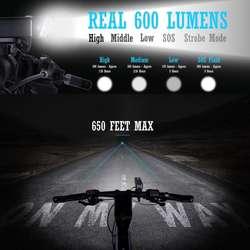 Linterna para Bicicleta de 600 Lumens, Aluminio recargable
