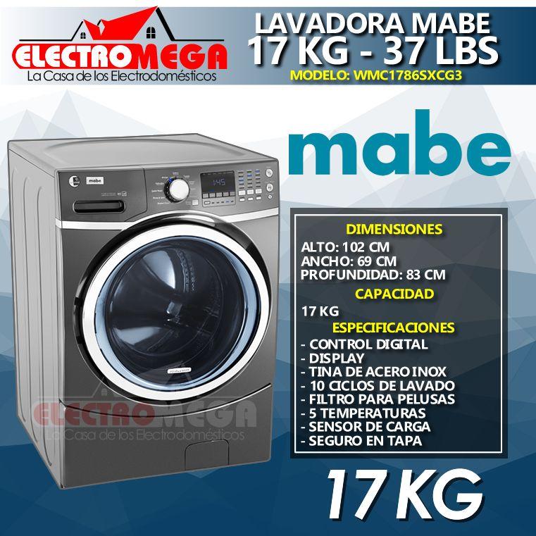 Lavadora Mabe 17 Kg / 37 Lbs Carga Frontal Wmc1786sxcg