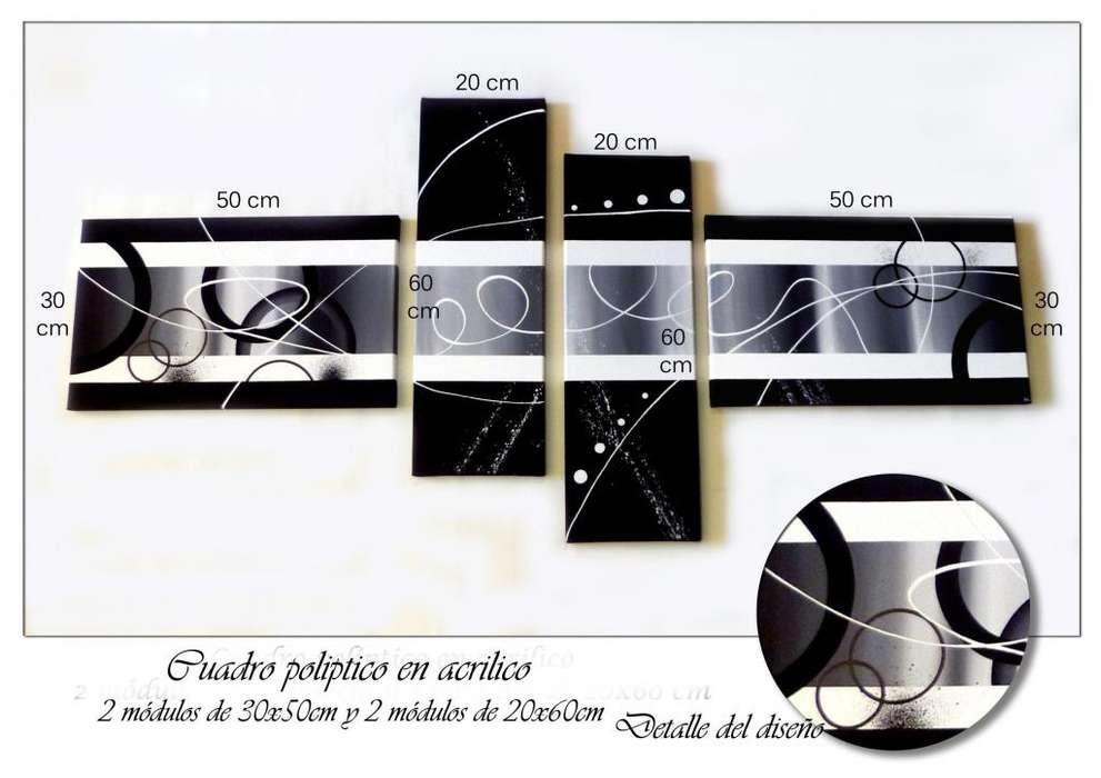 Bastidores cuadros pintados a mano, tripticos, polipticos, modernos, abstractos, minimalistas, decorativos y texturados
