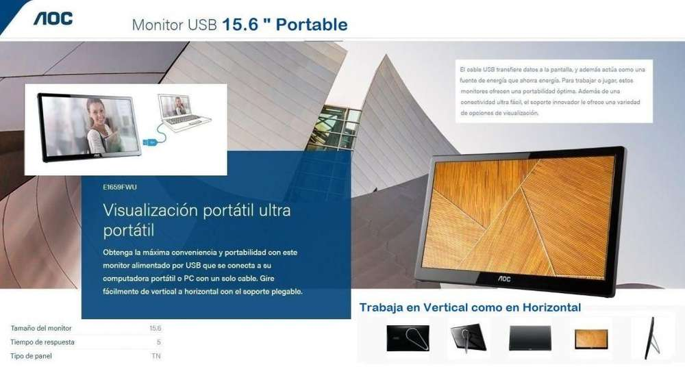 Monitor Portable USB 3.0 de 16 Pulagadas LED