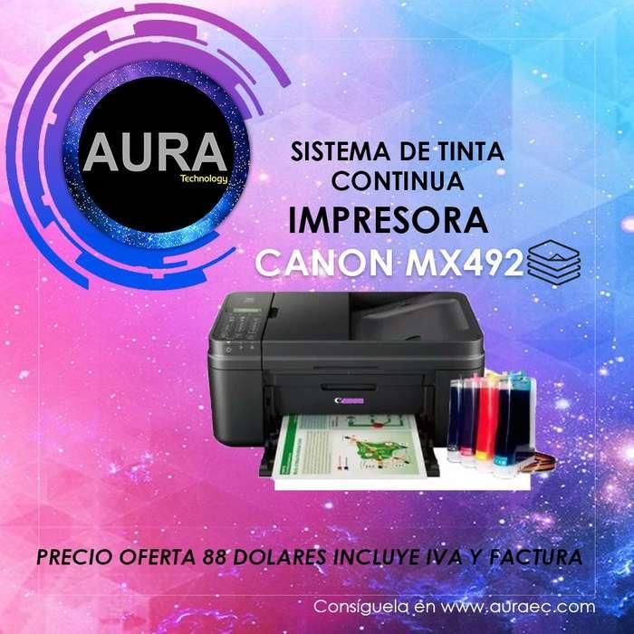 Impresora Multifuncion Canon Mx492 Sistema de Tinta Adaptado/WIFI/ Bandeja Adf