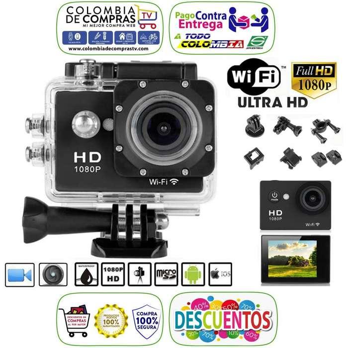 Cámara Video Tipo GoPro FHD WiFi Fotos 8 Mpx Acción Deportes Sumergible 30mts Pantalla 2 Pulgadas Nuevas Garantizadas