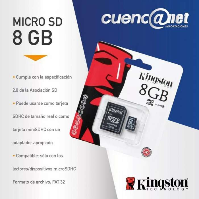 Micro Sd Hc 8gb Con Adp Kingston
