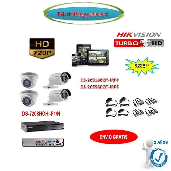 KIT HIKVISION TURBO HD 720P 4CÁMARAS DVR 8CH ACCESORIOS CCTV