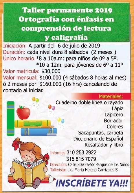 Taller de comprensión de lectura y ortografía para niños y jóvenes