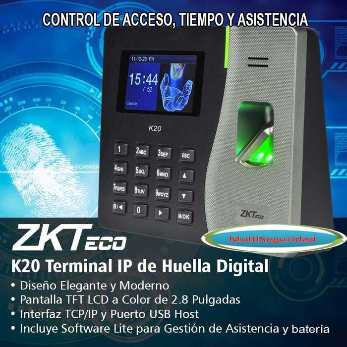 CONTROL DE ACCESO, ASISTENCIA Y TIEMPO DACTILAR ZKK20 RED BATERÍA USB CON IVA