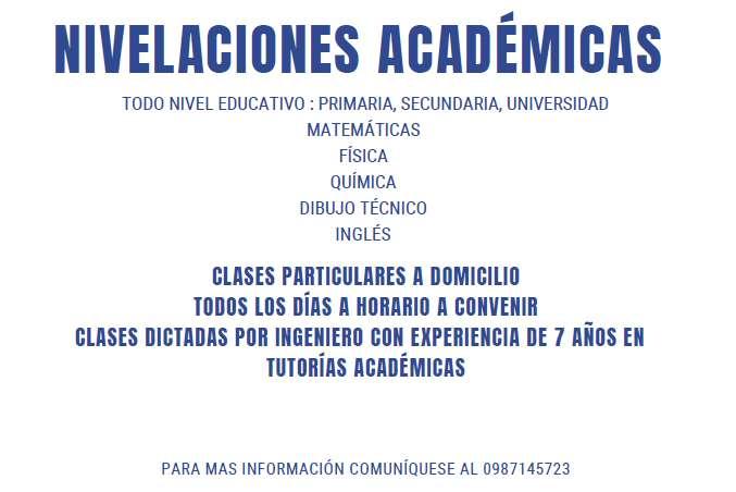 CLASES A DOMICILIO MATEMATICAS, FISICA, QUIMICA, INGLES, BIOLOGIA DIBUJO TECNICO