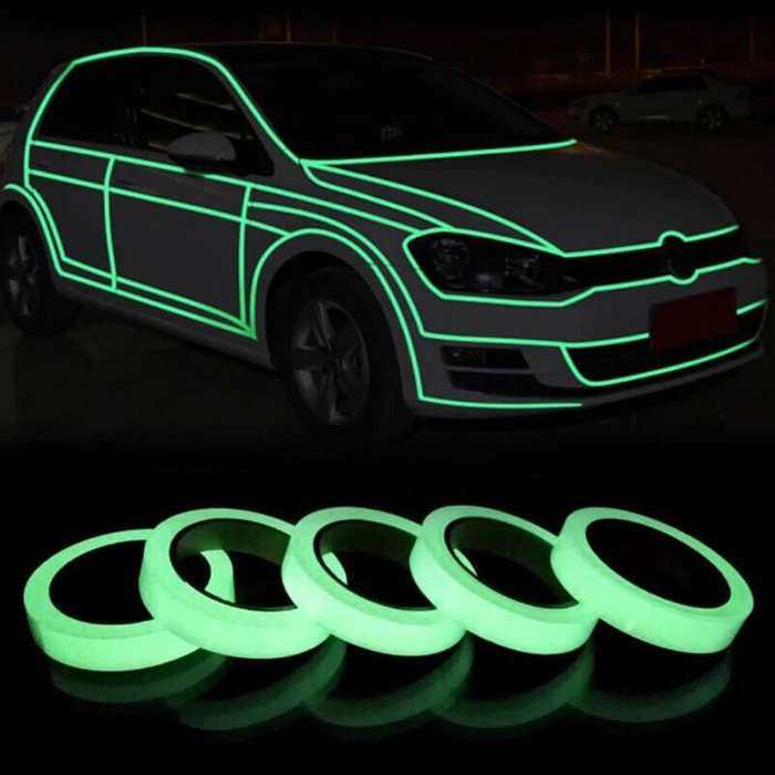 Cinta Luminosa Verde Cinta Autoadhesiva Tape Fluorescente, Etiqueta de Seguridad, Cinta Impermeable