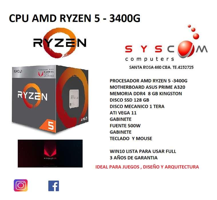 CPU RYZEN 5-3400G SUPER POTENTE . 3 AÑOS DE GARANTIA ÑISTOS PARA USAR
