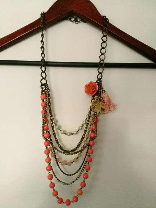 Collar Colgante Cadenas Perlas Rosa Y Bronce Positivo Design IMPECABLE
