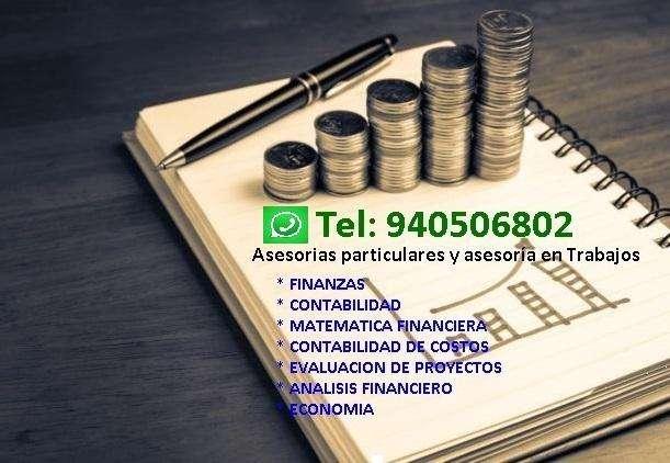 Clases Particulares Trabajos de Contabilidad d Costos , Finanzas Matemática Financiera , Economia, Calculo Cpel Epe Etc