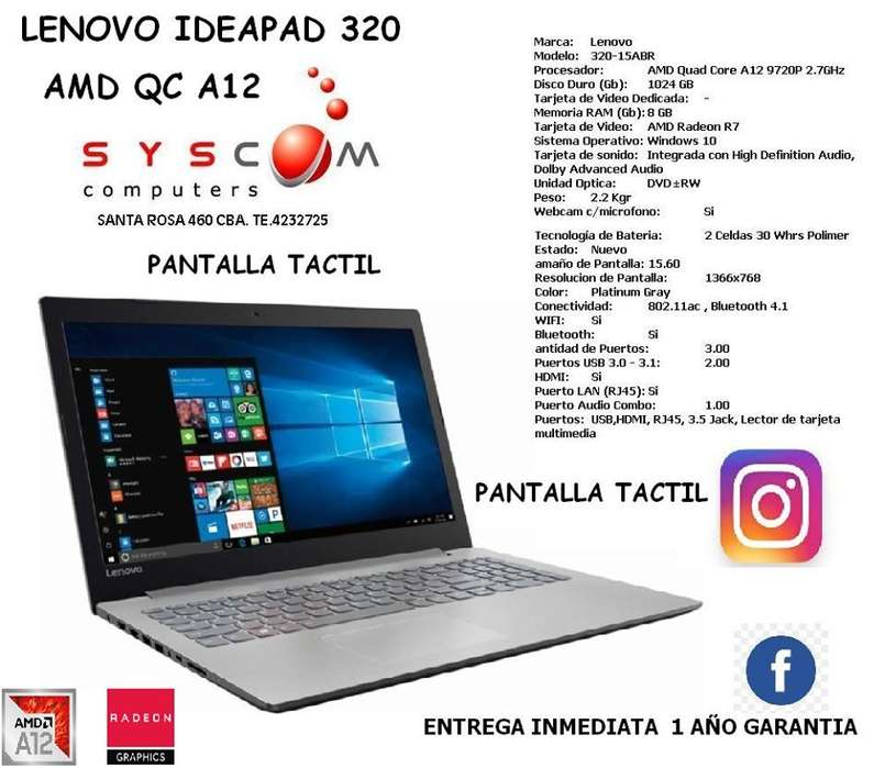 notebook lenovo ideapad 320. PANTALLA TACTIL