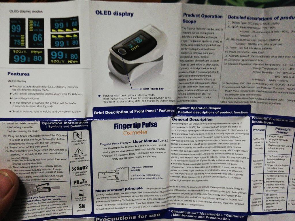 Pulsioximetro Digital Oxígeno