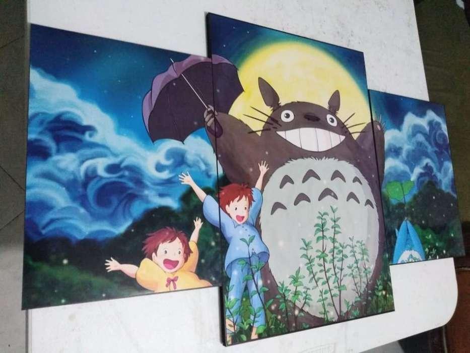 Cuadro Tres Piezas Totoro