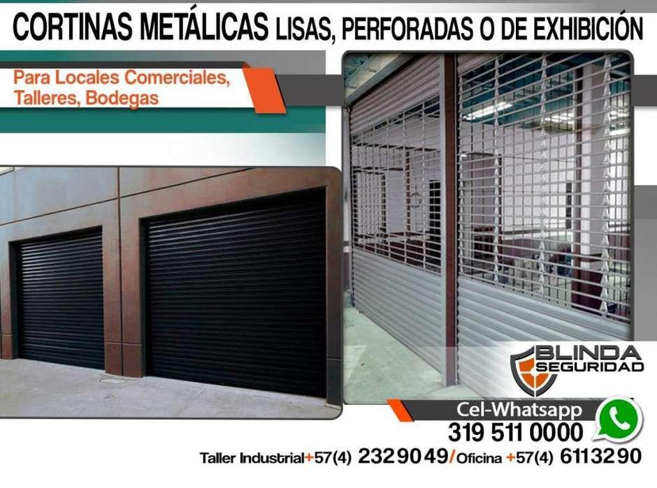 CORTINAS METÁLICAS Lisas o de Exhibición para Comercios, Talleres, Bodegas. Fabricación e Instalación