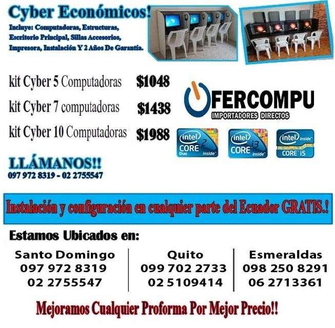KIT DE CYBER 5 COMPUTADORAS RÁPIDAS, CON INSTALACIÓN GRATIS Y CON 2 AÑOS DE GARANTÍA POR 1048