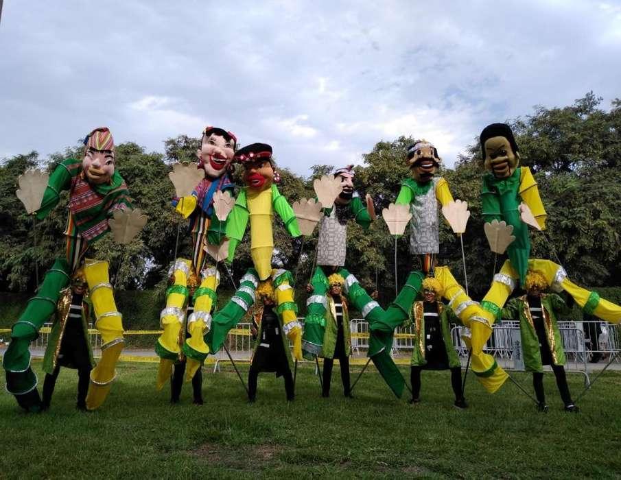 muñecos gigantes zanqueros mimos claun payasos <strong>bailarina</strong>s staff lima peru