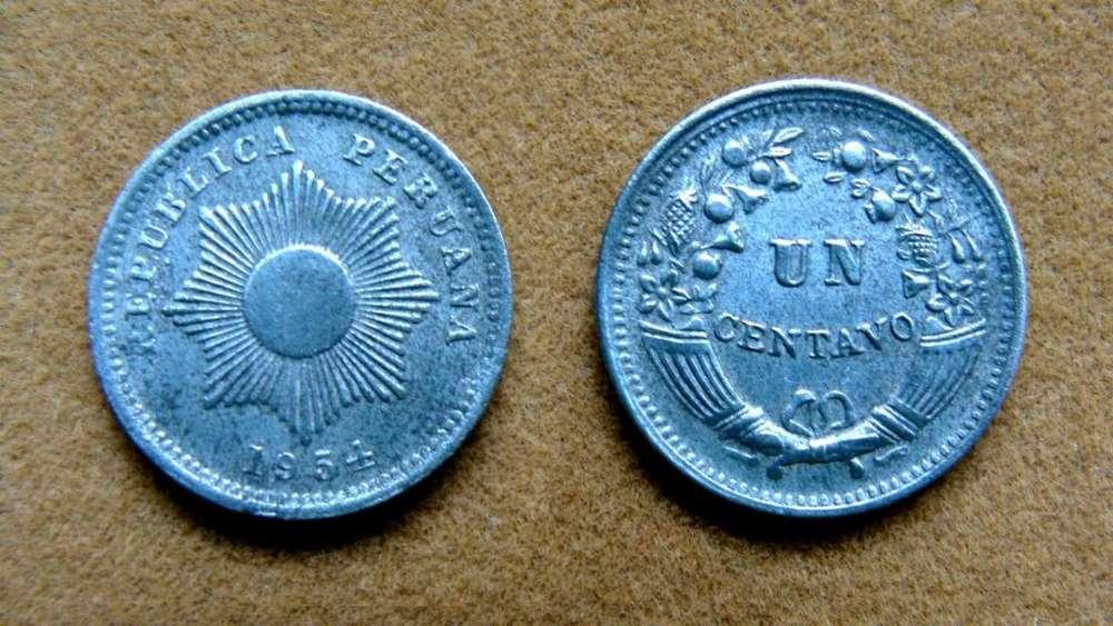 Moneda de 1 centavo Perú 1954