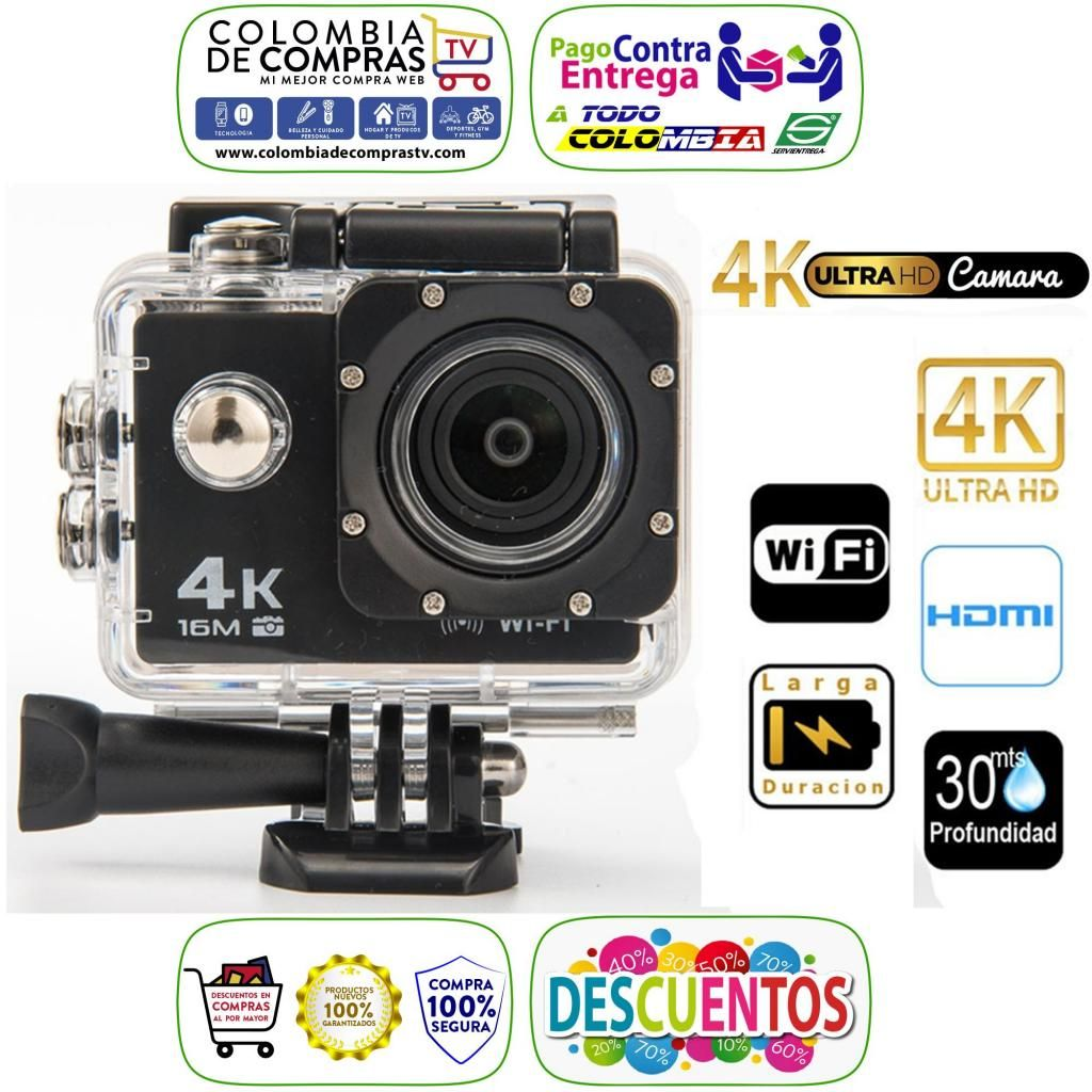 Cámara 4K Ultra HD, Wifi, Sumergible 30 Mts, 16.0MPX, Tipo GoPRO, Deportiva, Acción, Colores, Nuevas, Garantizadas