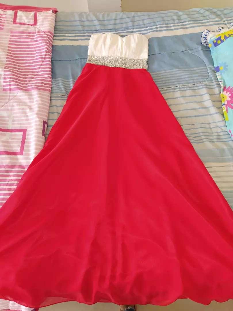 Vestido De Fiesta Blanco Con Rojo Con Corset Ropa Y