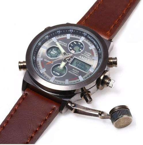 c762d57d4c34 Reloj Correa de Cuero AMST Militar Analógico Digital Luz Cronometro