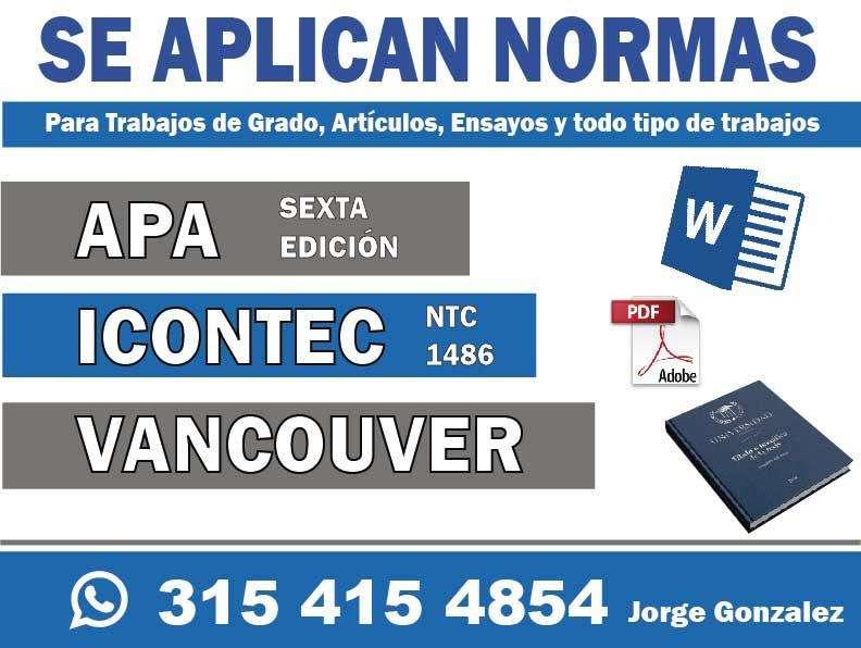 se aplican NORMAS APA, ICONTEC Y VANCOUVER