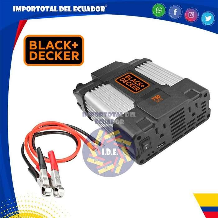 Inversor ''nuevo'' convertidor de corriente de 12 a 110 voltios / Black & Decker / 1 año garantía / Modelo PI750LA-B3