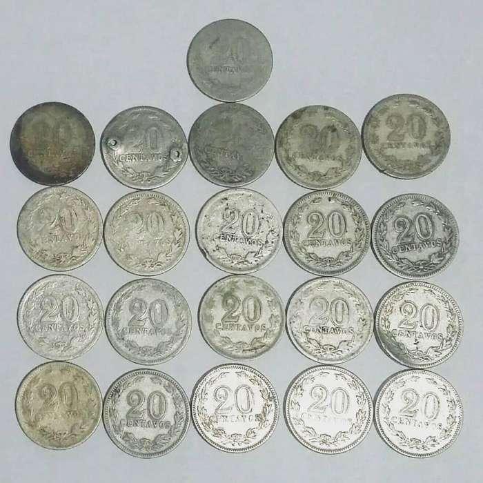 Lote 21 Monedas Argentinas 20 Centavos - Níqueles