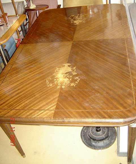 Mesa de <strong>comedor</strong> Inglesa Impec Lustrada magnifica Marqueterie bronce cristal