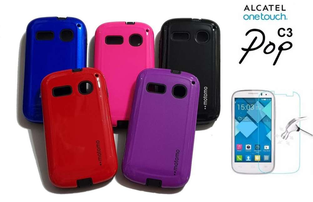 Alcatel one touch Pop C3 Funda Rígida Anti Golpes Glass Templado