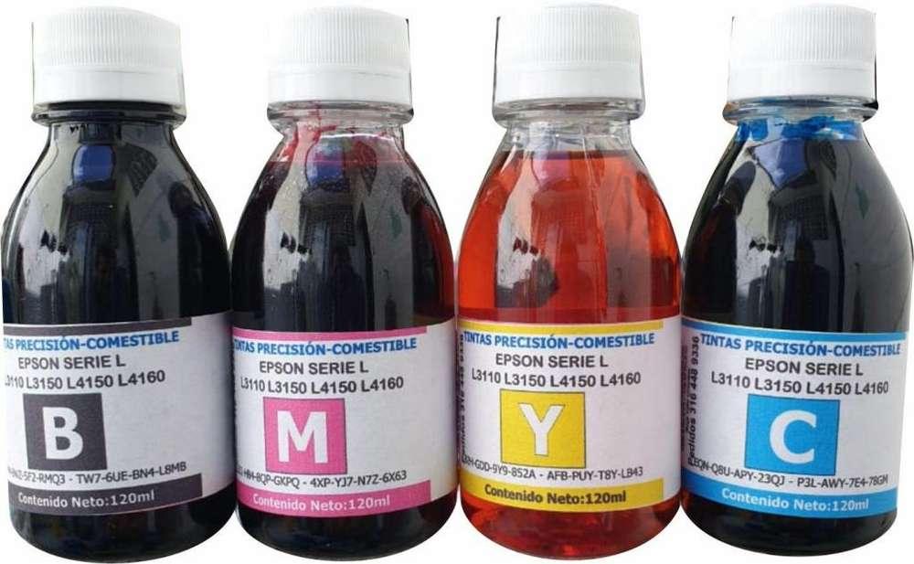 tinta comestible para impreoras de 120ml 4 unidades