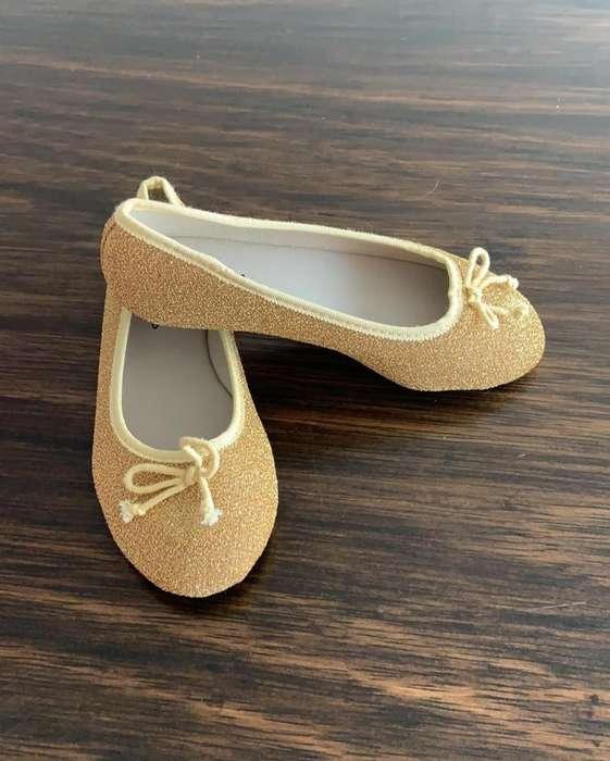Zapato Nina Dorado Tela nuevo