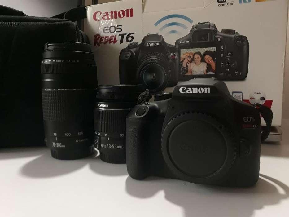 Cámara Canon Eos Rebel T6 18 Mp Combo