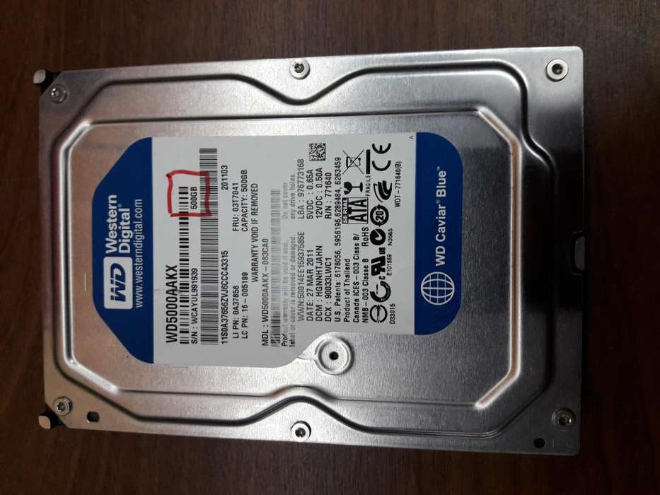 Disco Rígido W. Digital 500gb Blue Sata - C/windows 10