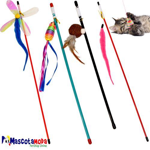 Cañas Varas de pescar con juguetes variados juguete para gatos